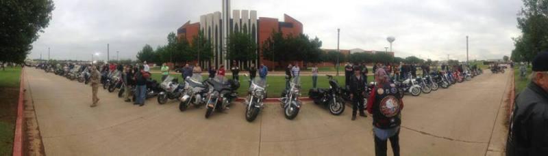 Bikers blocking Westboro protestors