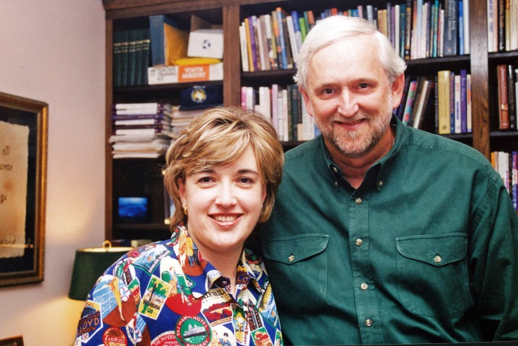 David Lewis & Sally Gary in David's office at Lake Highlands Church, 1999.